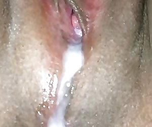 Creampie Asian pussy cum dribbling over asshole