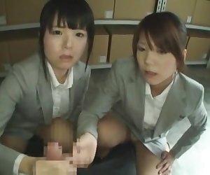 Horny Japanese model Kyouko Maki, Sayo Nakamoto, Airi Hayasaka in Exotic Handjobs, POV JAV clip